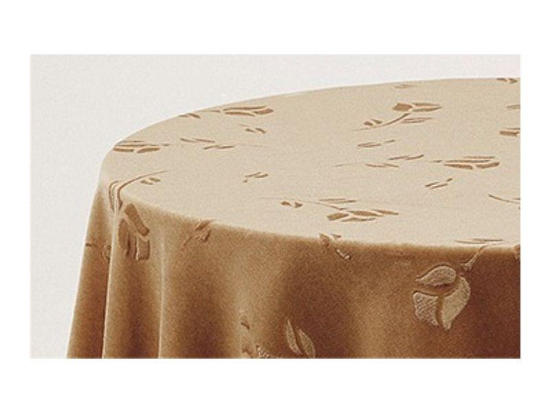 Falda mesa camilla ovalada terciopelo camel