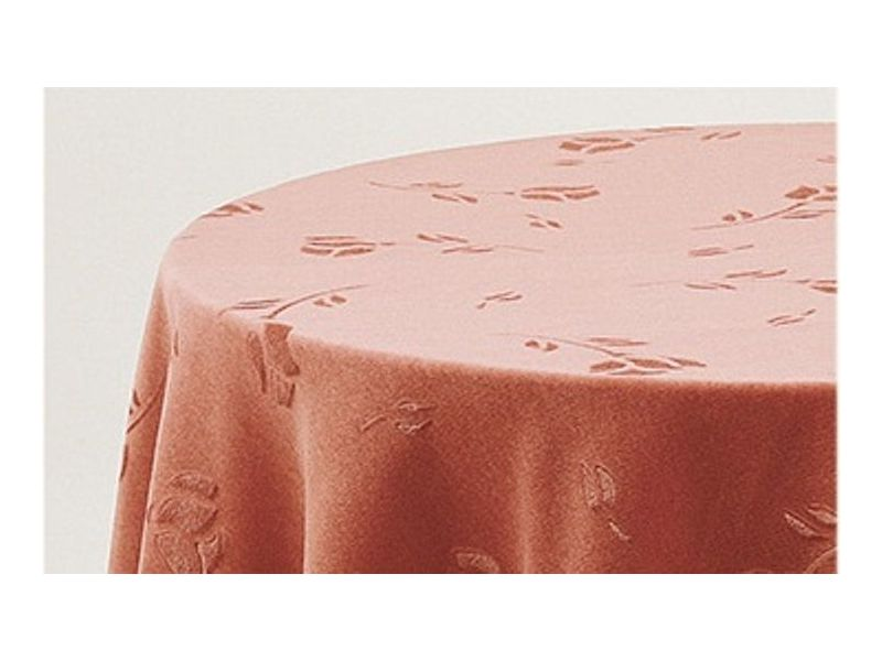 Falda mesa camilla ovalada terciopelo salmon